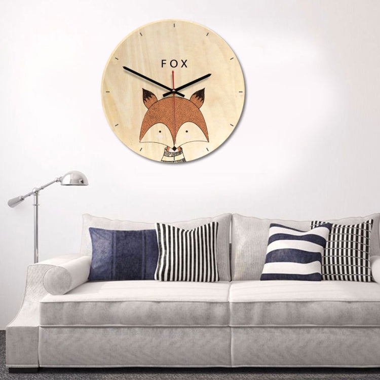 Fox Pattern Home Office Bedroom Decoration Wooden Mute Wall Clock, Size : 28cm - star-produkte.myshopify.com