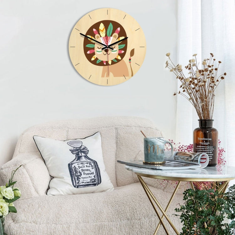 Indian Lion Pattern Home Office Bedroom Decoration Wooden Mute Wall Clock, Size : 28cm - star-produkte.myshopify.com