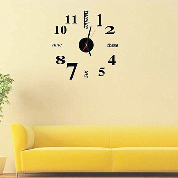 Lovelife WC37130 Acrylic English Digital DIY Stereo Wall Clock Wall Stick Clock (Black) - star-produkte.myshopify.com