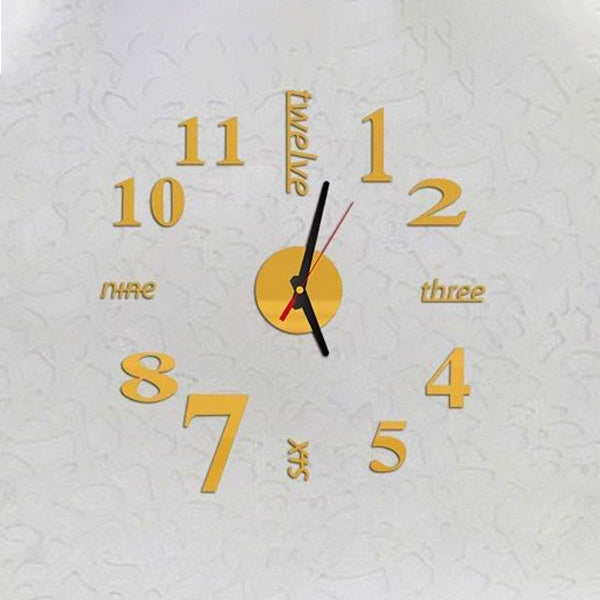 Lovelife WC37130 Acrylic English Digital DIY Stereo Wall Clock Wall Stick Clock (Gold) - star-produkte.myshopify.com