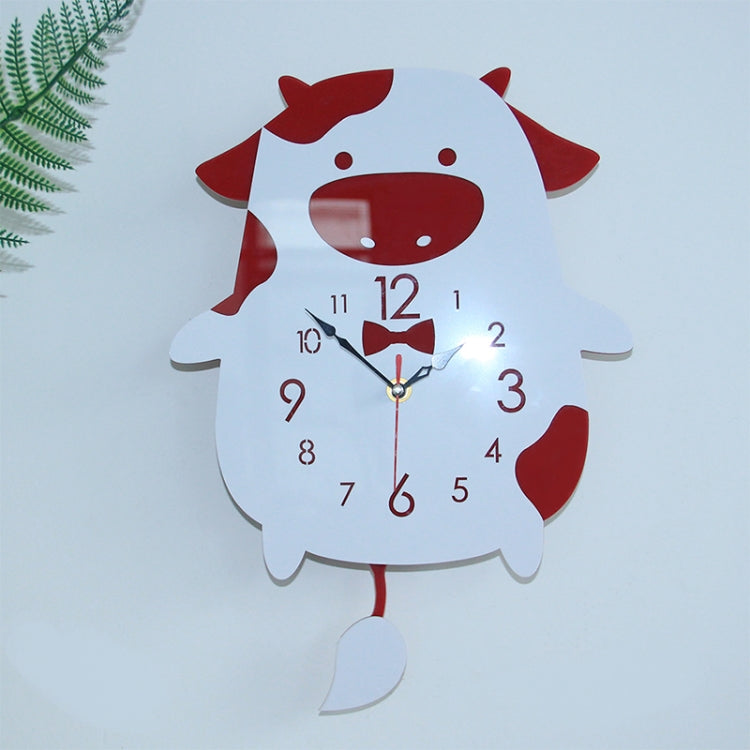 Creative Home Office Bedroom Decoration Cow Swing Acrylic Wall Clock (Red) - star-produkte.myshopify.com