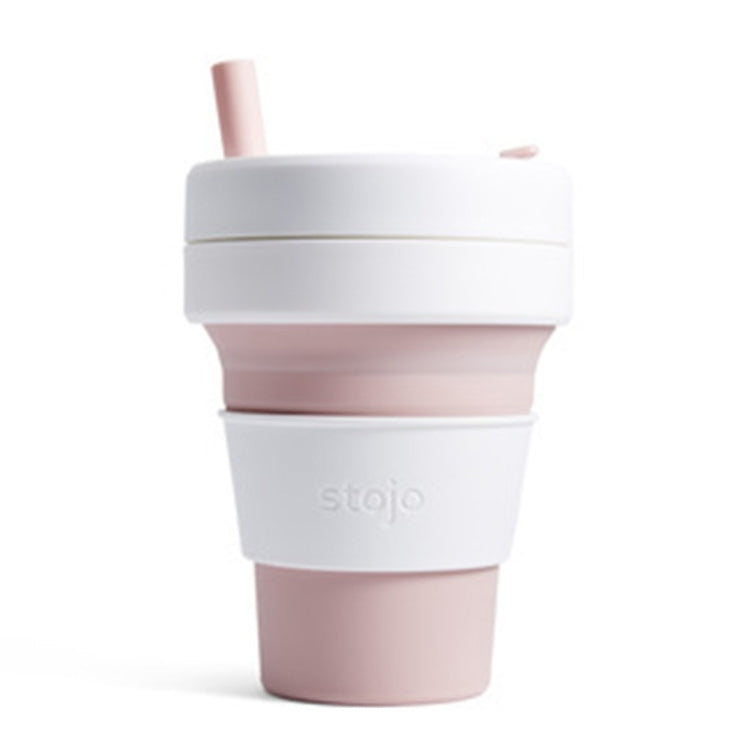 Stojo Detachable Portable Silicone Cup with Straw, Capacity: 473mL(Pink) |