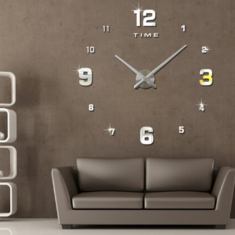 Bedroom Home Decoration Mirrored Number Frameless Large 3D DIY Wall Sticker Mute Clock, Size: 100*100cm(Silver) - Star Produkte