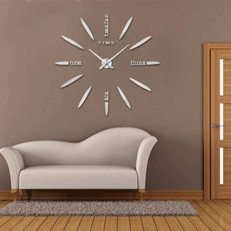 Bedroom Home Decor Large 3D Mirror DIY Wall Sticker Clock, Size: 100*100cm(Silver) - Star Produkte