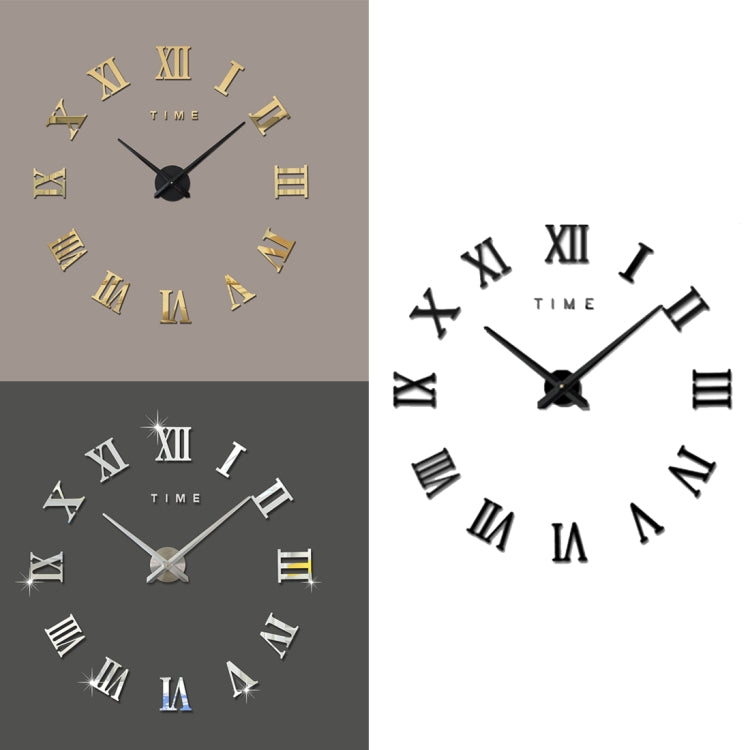 Bedroom Home Decoration Frameless Roman Numeral Large DIY Wall Sticker Mute Clock, Size: 100*100cm(Gold) - star-produkte.myshopify.com