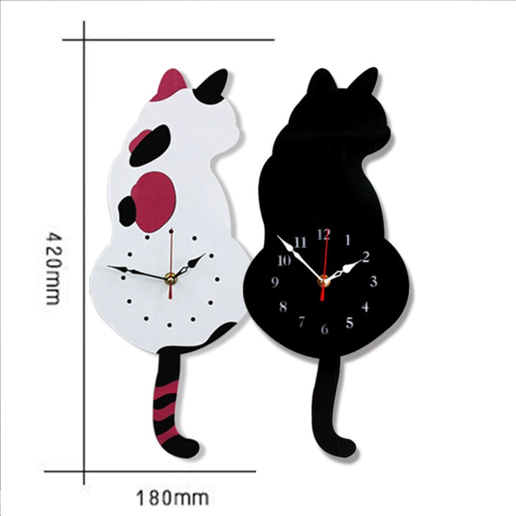 42x18cm Home Office Bedroom Decoration Battery Operated Cat Shaped Wall Clock with Swinging Tails(Black) - star-produkte.myshopify.com