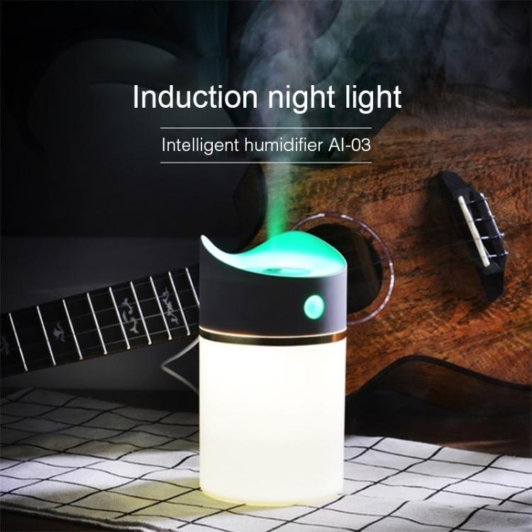 2W USB Mini Household Mute Desktop Air Humidifier Automatic Alcohol Sprayer with Induction Colorful Night Light, Water Tank Capacity: 380ml(White) - Star Produkte