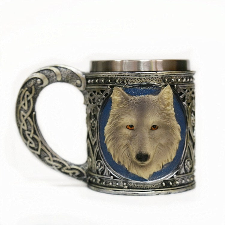 Wolf Head Shape Resin Double Layer Stainless Steel Mug Water Cup - Star Produkte