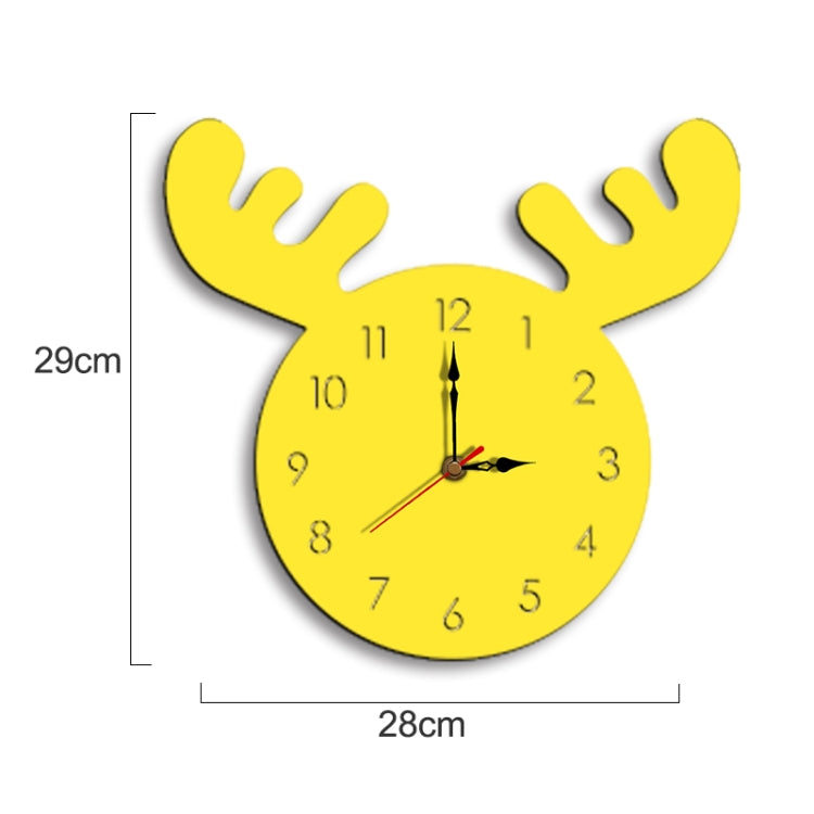 Deer Head Pattern Creative Living Room Decorative Wall Clock (Yellow) |