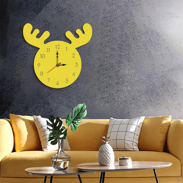 Deer Head Pattern Creative Living Room Decorative Wall Clock (Yellow) - Star Produkte