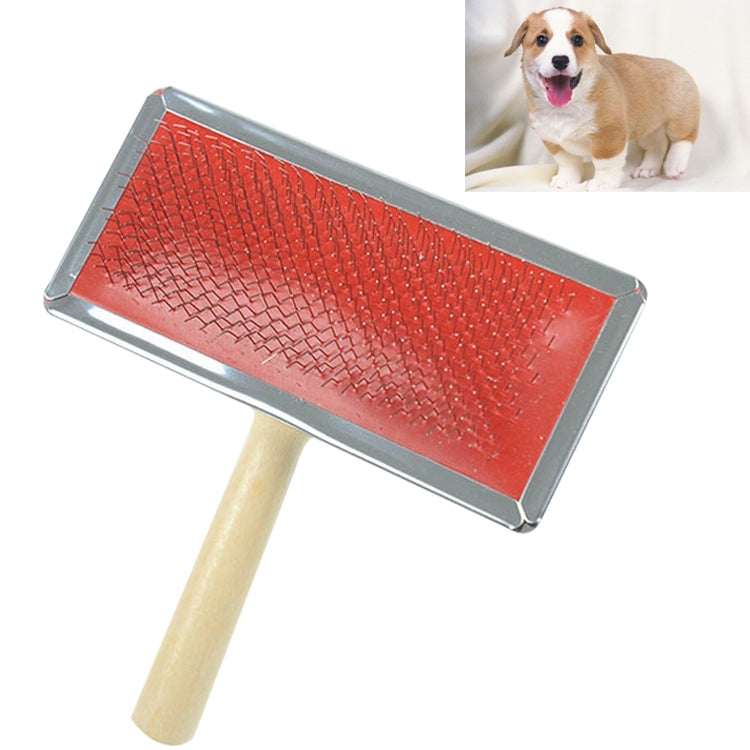Soft Curve Needled Manual Bristles Grooming Cleaning Brush with Wood Handle for Pet,  Size: XL, Random Color Delivery - star-produkte.myshopify.com