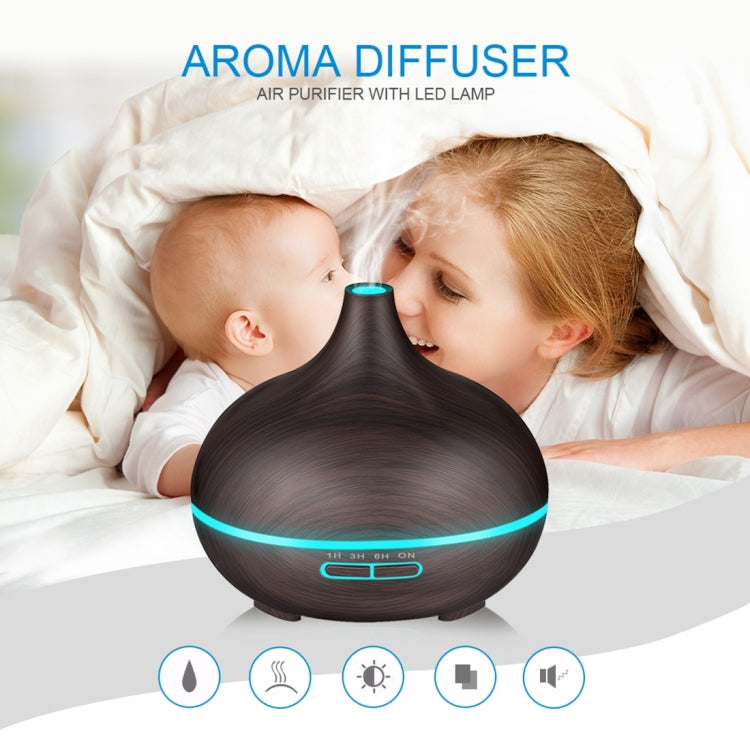 W350 14W 300ML Wood Grain Aromatherapy Air Purifier Humidifier with LED Light for Office / Home Room(Coffee) - Star Produkte