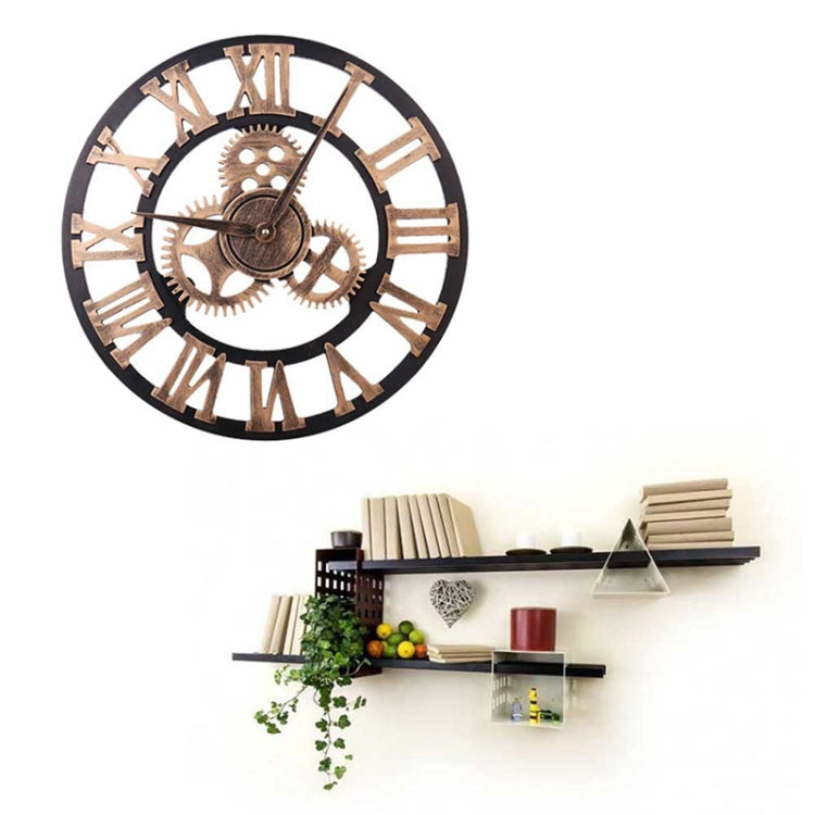Retro Wooden Round Single-sided Gear Clock Rome Number Wall Clock, Diameter: 30cm(Gold) - Star Produkte