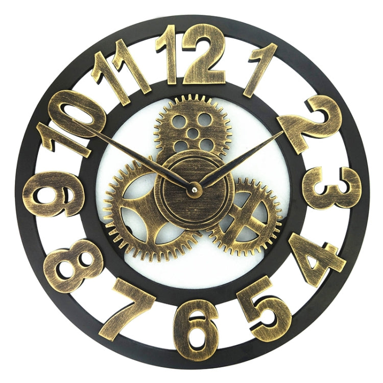 Retro Wooden Round Single-sided Gear Clock Number Wall Clock, Diameter: 45cm (Gold) - Star Produkte