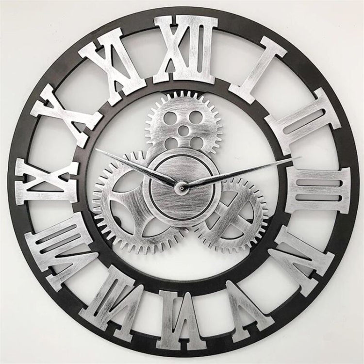 Retro Wooden Round Single-sided Gear Clock Rome Number Wall Clock, Diameter: 45cm (Silver) - star-produkte.myshopify.com
