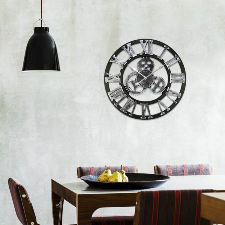 Retro Wooden Round Single-sided Gear Clock Rome Number Wall Clock, Diameter: 70cm(Silver) - Star Produkte