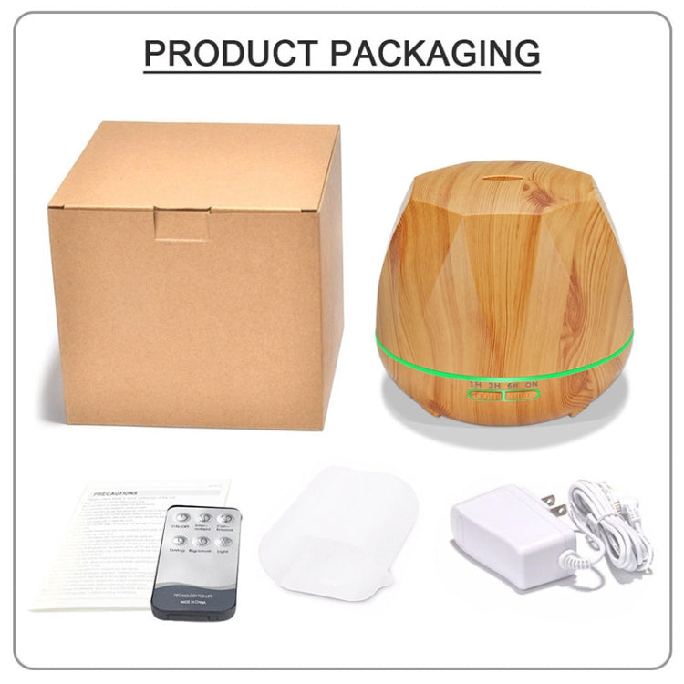 Diamond Wood Grain Remote Control Ultrasonic Humidifier Aromatherapy Machine Automatic Alcohol Sprayer with LED Lights, Capacity: 400mL, EU Plug (Light Wood Color) |