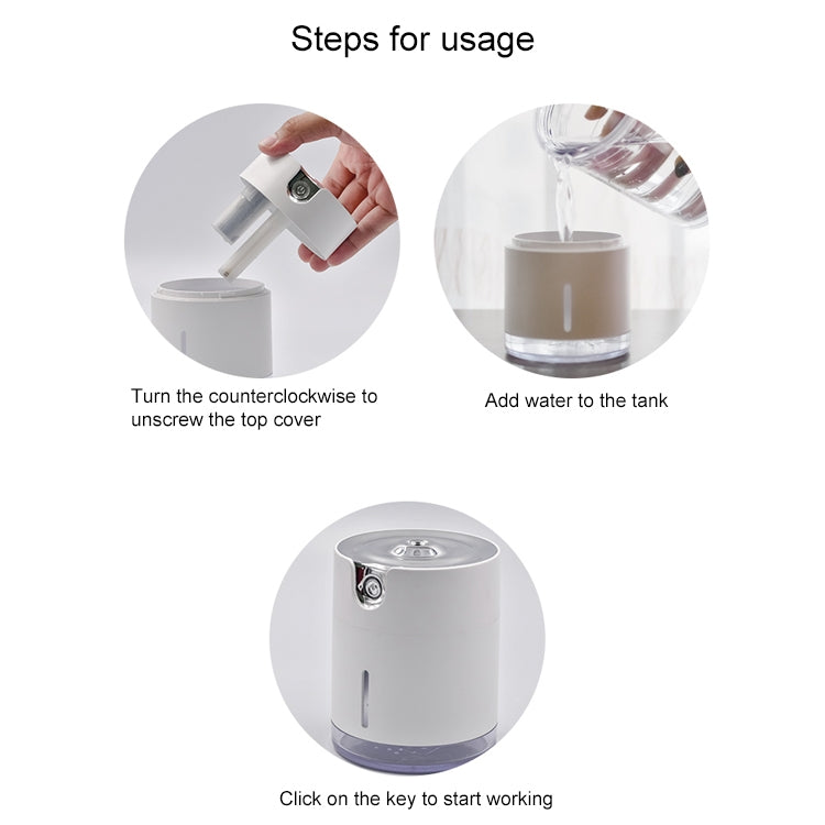 WT-H16 USB Charging Water Pattern Atomizing Humidifier with Colorful Night Lights, Water Tank Capacity: 300mL (White) - Star Produkte