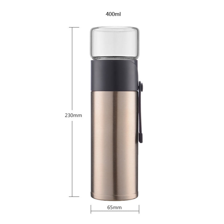 400ml 304 Stainless Steel Glass Cover Thermos Cup (Purple) |
