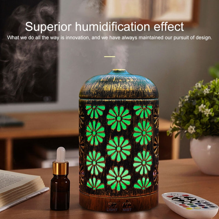 Hollow-out Carved Iron Aromatherapy Machine Ultrasonic Humidifier Automatic Alcohol Sprayer with Night Light, Capacity: 200mL, US Plug |