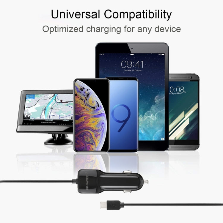 HAWEEL 5V 3.1A USB-C / Type-C Car Charger with Spring Cable, Length: 30cm-120cm, For Galaxy S8 & S8+ / LG G6 / Huawei P10 & P10 Plus / Xiaomi Mi 6 & Max 2 and other Smartphones - Star Produkte