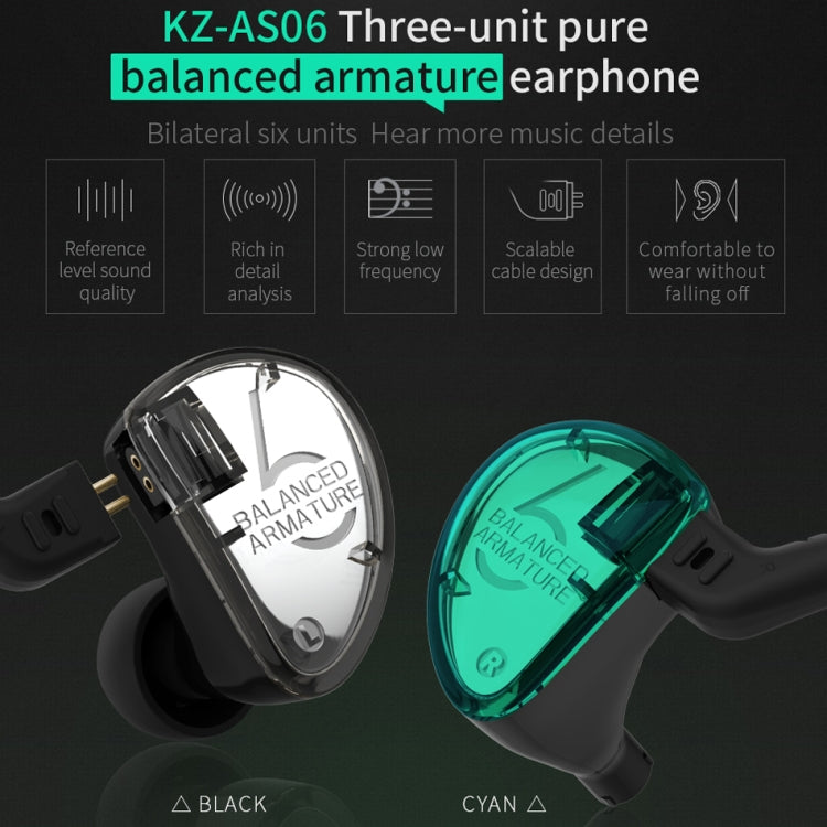 KZ AS06 Six Unit Moving Iron Universal Wired Control In-ear Earphone with Microphone (Cyan) |