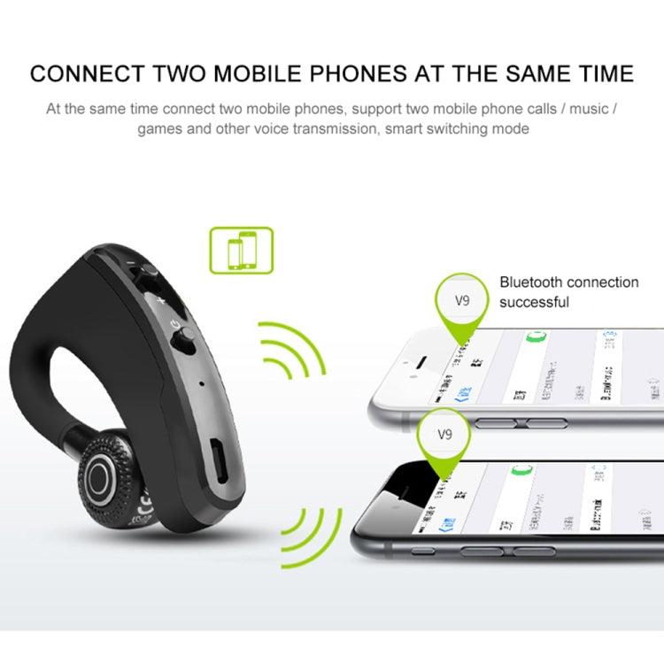 V9 Business Handsfree Wireless Bluetooth Headset CSR 4.1 with Mic for Driver Sport (Black) - star-produkte.myshopify.com