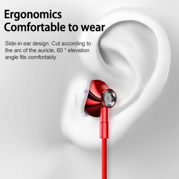 Original Lenovo HF140 High Sound Quality Noise Cancelling In-Ear Wired Control Earphone(Red) |