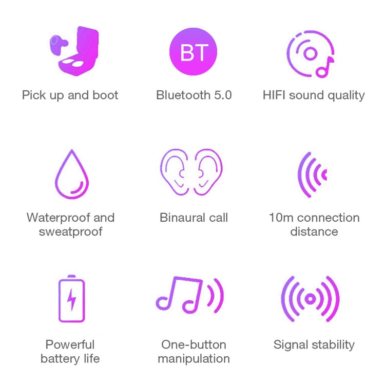 DT-5 IPX Waterproof Bluetooth 5.0 Wireless Bluetooth Earphone with Magnetic Charging Box, Support Call & Power Bank Function(Pink) - star-produkte.myshopify.com