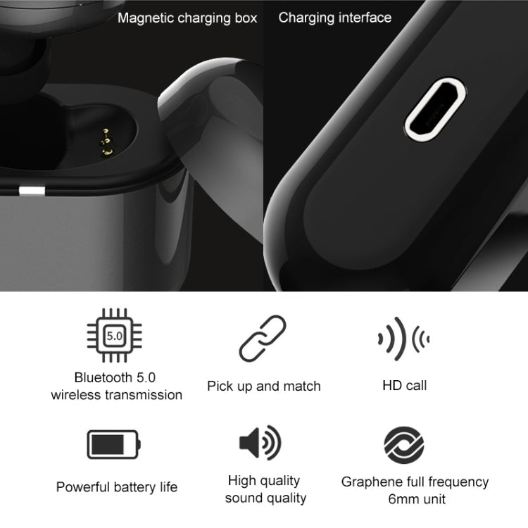 REMAX RB-T25 Single-sided Smart Touch Bluetooth Earphone with Magnetic Charging Box, Support Calls (White) - star-produkte.myshopify.com