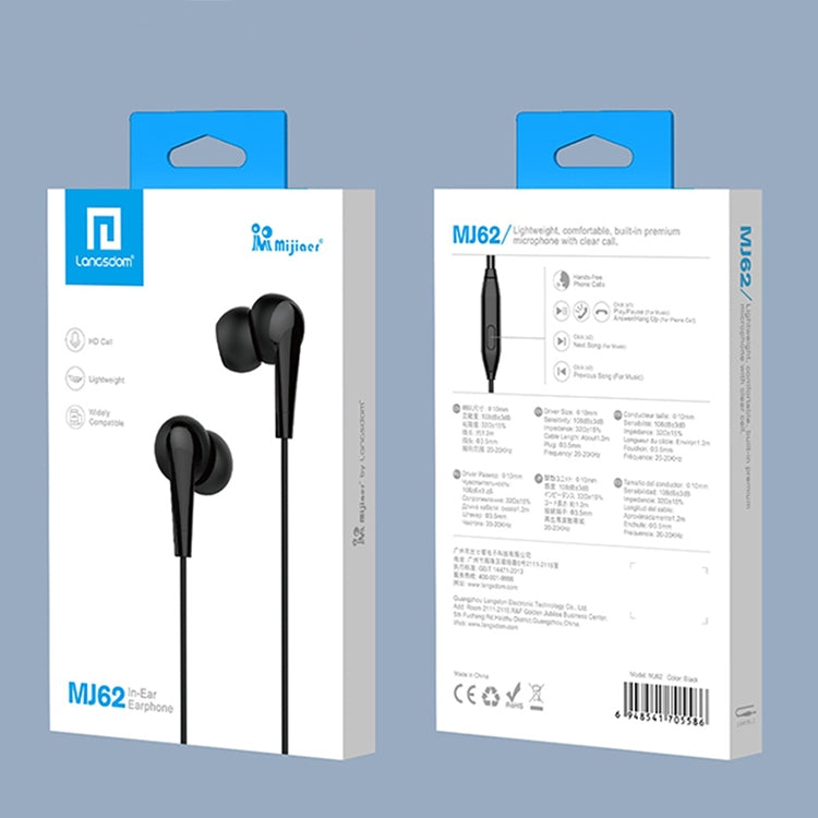 Langsdom MJ62 1.2m Wired In Ear 3.5mm Interface Stereo Earphones with Mic (Black) |