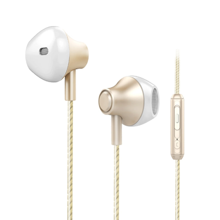 KIVEE KV-MT06 1.2m Wired Half In Ear 3.5mm Interface HiFi Stereo Earphones with Mic (Gold) |