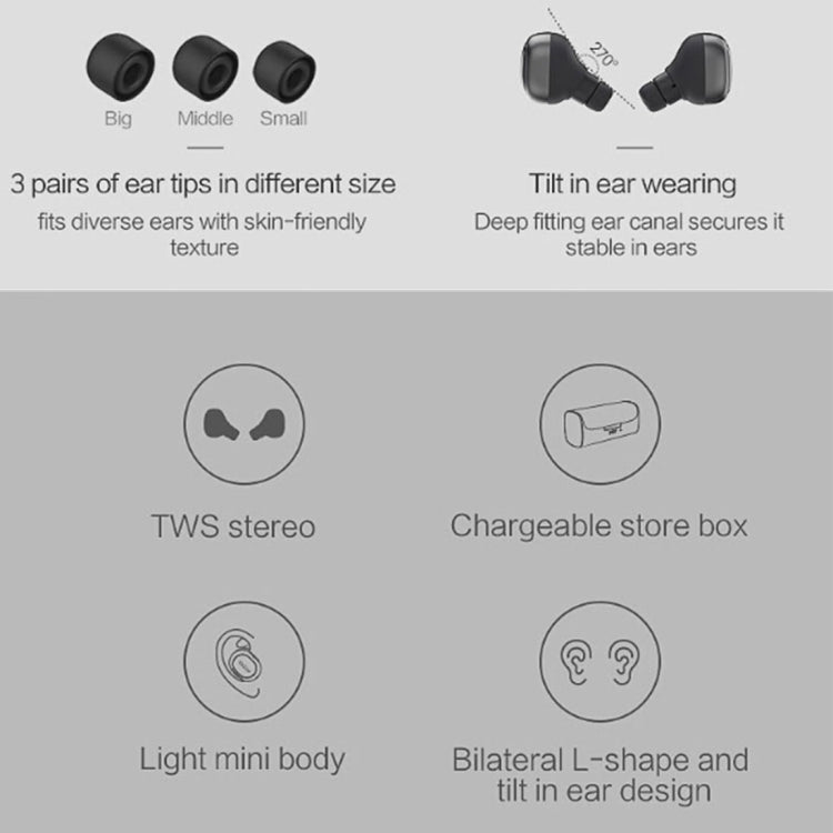 QCY Q29 Pro TWS Mini Wireless V4.1 Bluetooth Earphones with Mic, For iPad, iPhone, Galaxy, Huawei, Xiaomi, LG, HTC and Other Smart Phones(Black) - star-produkte.myshopify.com