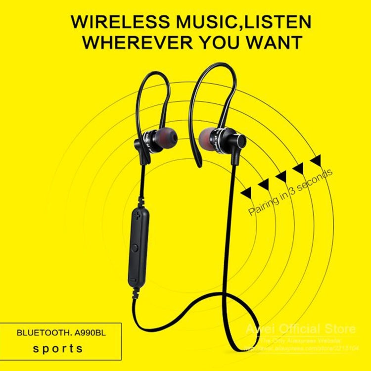 AWEI A990BL Wireless Sport Bluetooth Stereo Earphone with Wire Control + Mic, Support Handfree Call, for iPhone, Samsung, HTC, Sony and other Smartphones(Green) - star-produkte.myshopify.com