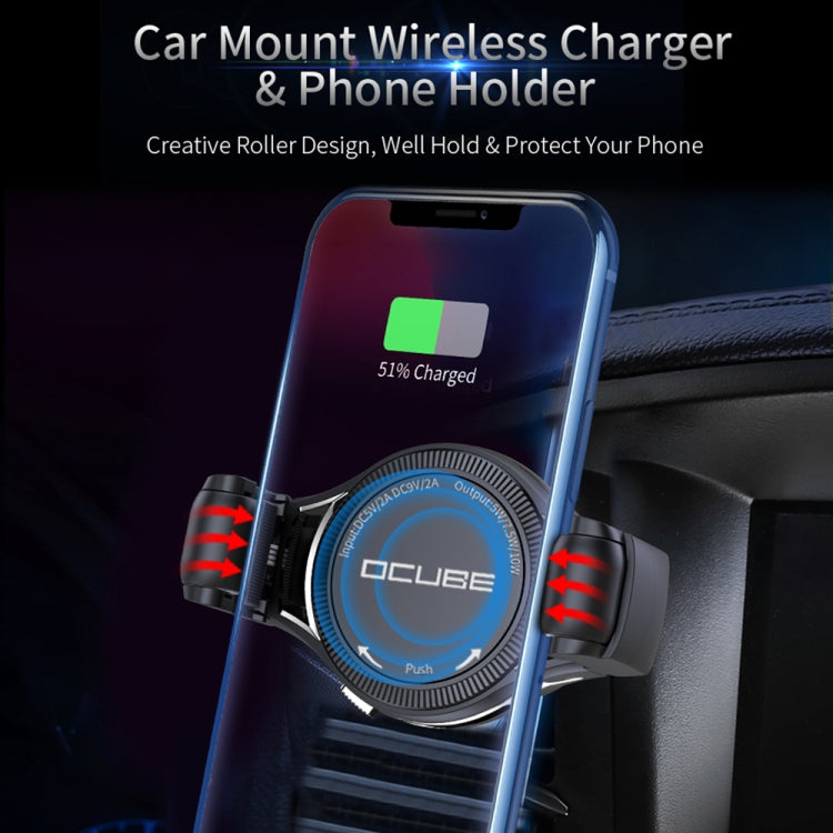 OCUBE O-C02 QC2.0 / QC3.0 Wireless Charger Car Air Outlet Holder Charger,Support 4 inch to 6.5 inch Phones, For iPhone, Galaxy, Nokia, Miui, LG and Other QI Standard Smart Phones - star-produkte.myshopify.com