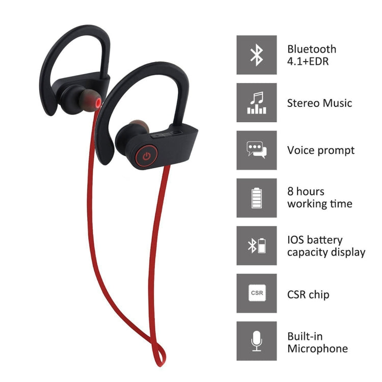 U8 Sports Style Bluetooth 4.1+EDR Stereo Headphone Over the Ear Headset, For iPhone, Samsung, Huawei, Xiaomi, HTC and Other Smart Phones (Red) - star-produkte.myshopify.com