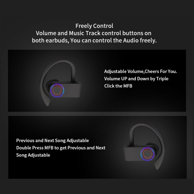 JHO-A9 TWS  Wireless Hanging Ear Type Bluetooth Earphone with Charging + Storage Integrated Zipper Bag, Support Voice Control(Black) - star-produkte.myshopify.com