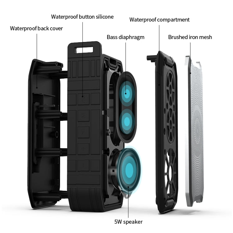 X3 5W Outdoor IPX7 Waterproof Wireless Bluetooth Speaker, Support Hands-free / USB / AUX / TF Card (Black) - Star Produkte