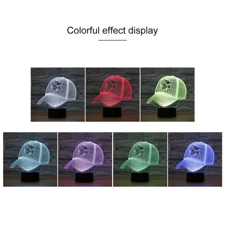 Baseball Cap Shape 3D Colorful LED Vision Light Table Lamp, Charging Touch Version - star-produkte.myshopify.com