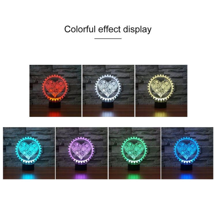 Gear Heart Shape 3D Colorful LED Vision Light Table Lamp, USB Touch Version - star-produkte.myshopify.com