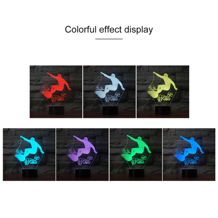 Surf Riding Shape 3D Colorful LED Vision Light Table Lamp, Charging Touch Version - star-produkte.myshopify.com