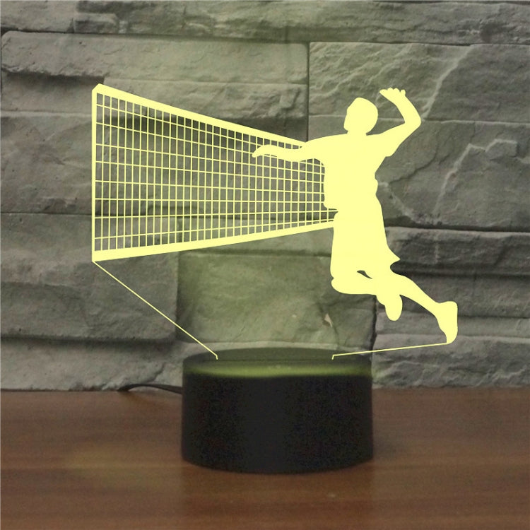 Playing Volleyball Shape 3D Colorful LED Vision Light Table Lamp, 16 Colors Remote Control Version - star-produkte.myshopify.com