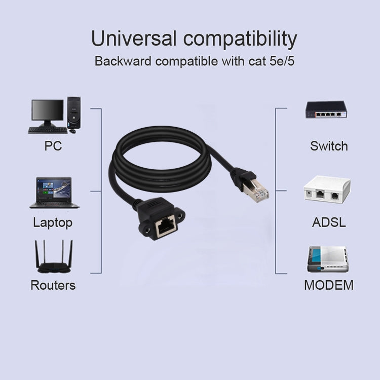 RJ45 Female to Male CAT6E Network Panel Mount Screw Lock Extension Cable, Length: 3m - star-produkte.myshopify.com