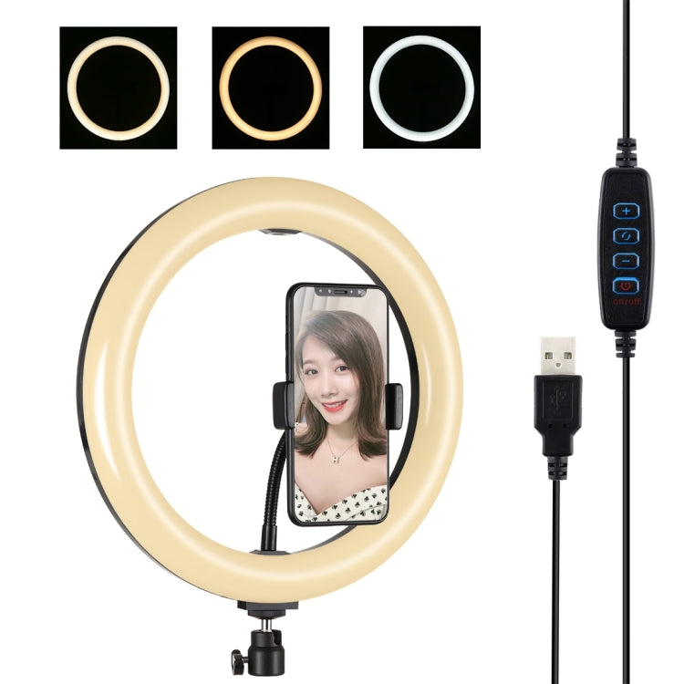 PULUZ 10.2 inch 26cm USB 3 Modes Dimmable Dual Color Temperature LED Curved Diffuse Light Ring Vlogging Selfie Photography Video Lights with Phone Clamp(Black) - star-produkte.myshopify.com