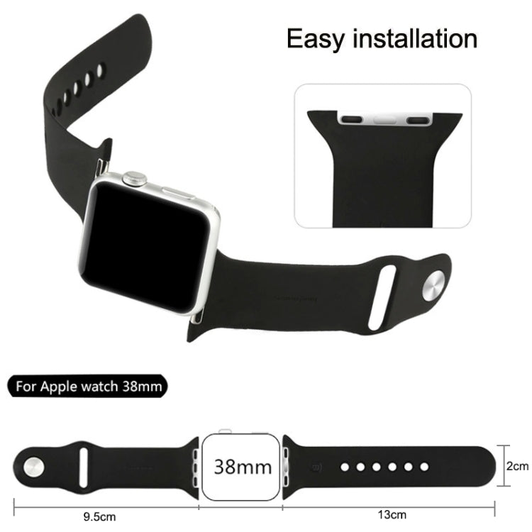 For Apple Watch Sport 38mm High-performance Longer Silicone Sport Watchband with Pin-and-tuck Closure(Khaki) - Star Produkte
