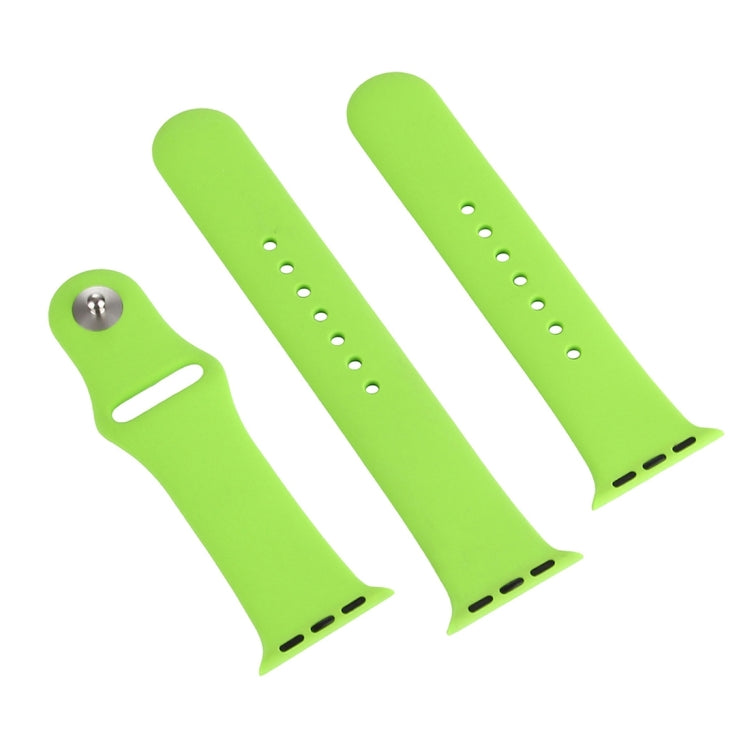 For Apple Watch Series 6 & SE & 5 & 4 44mm / 3 & 2 & 1 42mm High-performance Ordinary & Longer Rubber Sport Watchband with Pin-and-tuck Closure(Green) - Star Produkte
