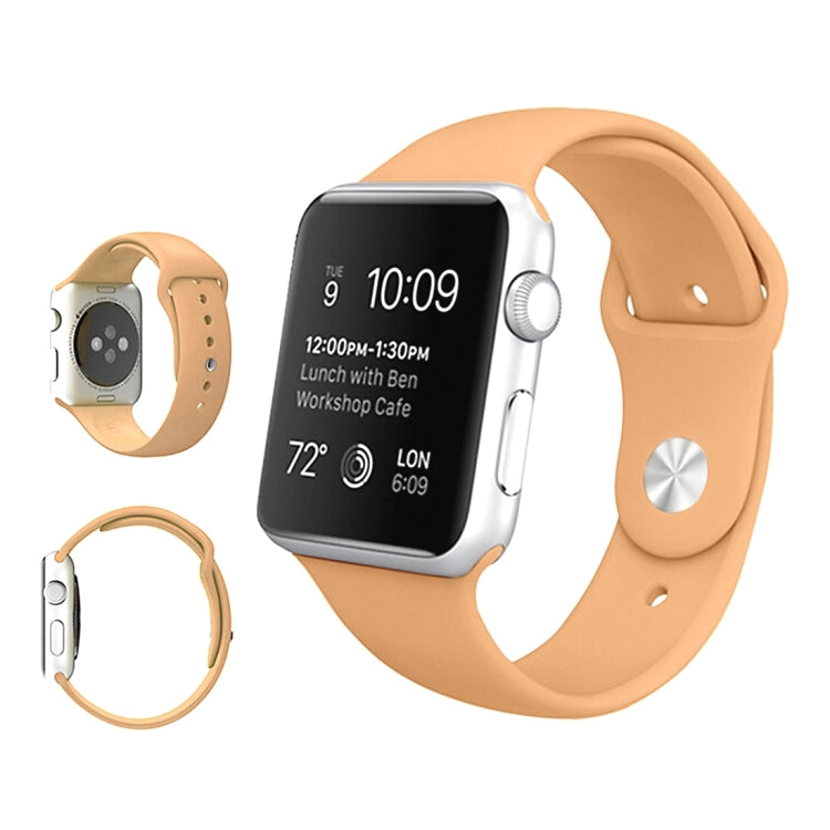 For Apple Watch Series 6 & SE & 5 & 4 44mm / 3 & 2 & 1 42mm High-performance Ordinary & Longer Rubber Sport Watchband with Pin-and-tuck Closure(Khaki) - Star Produkte