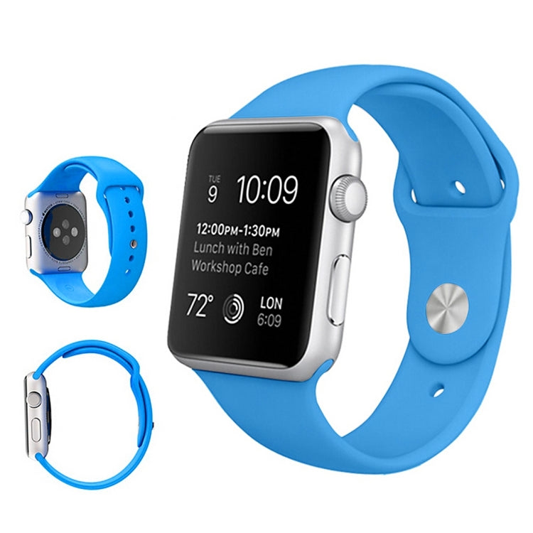 For Apple Watch Series 6 & SE & 5 & 4 44mm / 3 & 2 & 1 42mm High-performance Ordinary & Longer Rubber Sport Watchband with Pin-and-tuck Closure(Blue) - Star Produkte