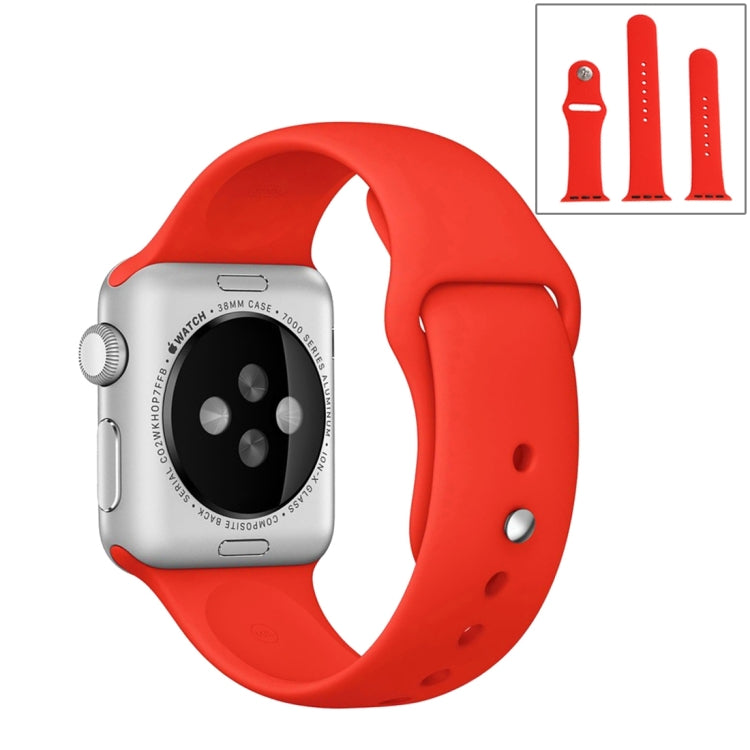 For Apple Watch Series 6 & SE & 5 & 4 44mm / 3 & 2 & 1 42mm High-performance Ordinary & Longer Rubber Sport Watchband with Pin-and-tuck Closure(Red) - Star Produkte