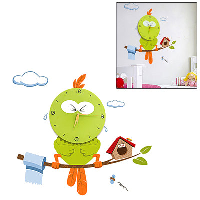 DIY 3D Cartoon Bird Style Wall Clock(Green) - star-produkte.myshopify.com
